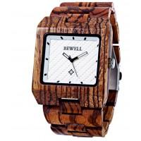 BEWELL Dřevěné náramkové hodinky Žebrované Mark DH005 ZEBRA