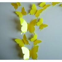 Barevná dekorace - Žluté motýli, 1 balení obsahuje 12ks