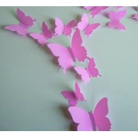 Barevná samolepka - Růžové motýli - 1 balení obsahuje 12 ks SZEK