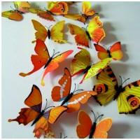 3D nálepka - Žluté barevné motýli - 1 balení obsahuje 12 ks