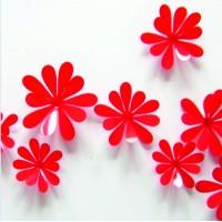3D dekorace - Červené květy - 1 balení obsahuje 12 ks