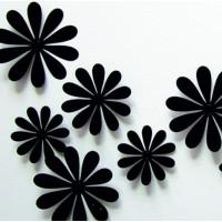 3D Nálepka na zeď - Černé květiny - 1 balení obsahuje 12 ks
