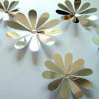 Zrcadlová samolepka - stříbrné květy - 1 balení obsahuje 12 ks SILVER