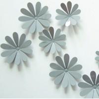 3D nalepovací květiny na stěnu - Šedé - 1 balení obsahuje 12 ks