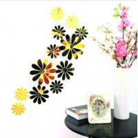 Trendy samolepka na stěnu - Zlaté květy - 1 balení obsahuje 12 ks