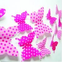 3D nalepovací motýli na stěnu - Růžová tečka - 1 balení obsahuje 12 ks