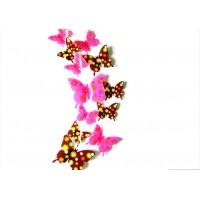 Kreativní nálepky - Motýli hnědé a růžové květy - 1 balení obsahuje 12 ks