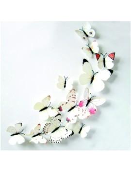 Samolepka bílé-barevné motýly - 1 balení obsahuje 12 ks