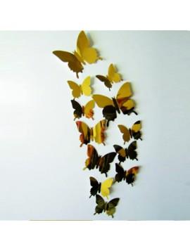 3D Zrcadlové motýli zlaté - 1 balení obsahuje 12 ks
