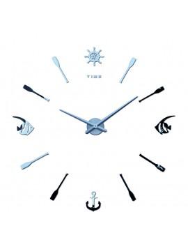 Moderní moderní nástěnné hodiny Ryba. SILVER. Domácí salon dekorace 3D zrcadlo Povrchové samolepky.