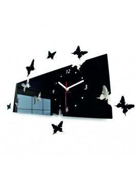 Stylové nástěnné hodiny motýli. Barva černá. Rozměr 60 x 49 cm