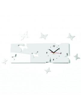Nástěnné hodiny plexisklo motýl Śnieżka. Barva bílá. Rozměr 60 x 49 cm