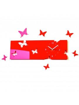 Nástěnné hodiny motýl Barva červená. Rozměr 60 x 49 cm SNOPIK