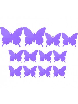 Motýl nálepka. Barevná samolepka fialová světla - motýl, 1 sada - 12ks