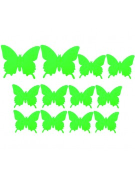 Barevná samolepka motýl, zelená světla - motýl, 1 sada - 12ks