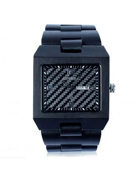 BEWELL Dřevěné náramkové hodinky černé Tomás DH05 EBONY