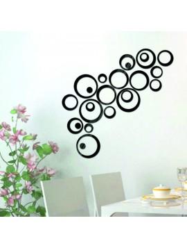 Nálepka na zeď - černé kruhy, cm 4x13.6, 4x11, 4x9, 4x5,5, 4x4, 4x tečky