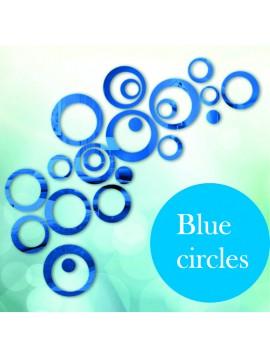 Nálepka na zeď modré kruhy cm 4x13.6, 4x11, 4x9, 4x5,5, 4x4, 4x tečky MODRANKA