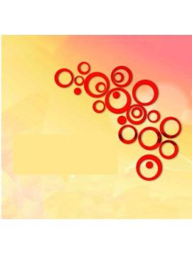 HOME Dekorace, Nálepka na zeď - červené kruhy, cm 4x13.6, 4x11, 4x9, 4x5,5, 4x4, 4x malé tečky
