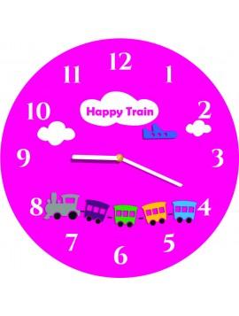 Nástěnné hodiny pro děti šedé, vlak hravé barvy. Rozměr 30 x30 cm