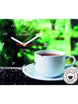 Nástěnné hodiny jako obraz. Ranní káva. Rozměr 25 x 30 cm ARABIKA