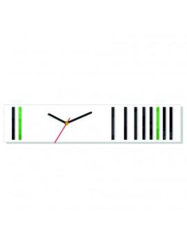 Nástěnné hodiny reflex. Barva bílá-černá-zelená. Rozměr 12 x 56 cm