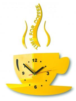 Nástěnné hodiny slunečnice šálek káva. Barva žlutá. Rozměr 36 x 32 cm