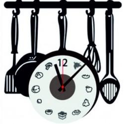 Nalepovací nástene hodiny vařečky černé