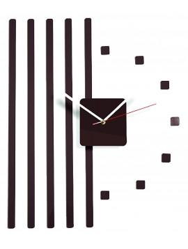 Plastové hodiny na stěnu hnědé čoko. Rozměr 58 x 45 cm
