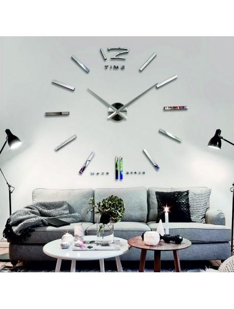 Velké 3D nalepovací nástěnné hodiny, moderní 3D hodiny na stěnu. Nástěnné hodiny do kuchyně a do obýváku.