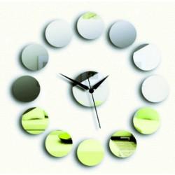 Nalepovací nástěnné zrcadlové hodiny na stěnu KRUH