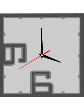 Nástěnné hodiny z plastu BRODY, barva: tmavá šedá, šedá, světlá šedá