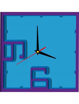Nástěnné hodiny z plastu - Pratello, barva: fialová, modrá, světlá modrá