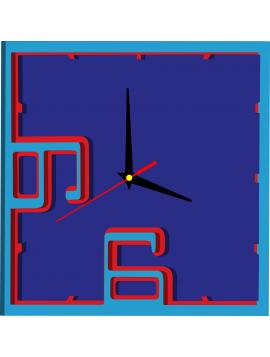 3D barevné nástěnné hodiny - BEULAH, barva: světlá modrá, červená, modrá