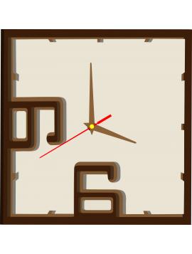 Kreativní hodiny barevné - FELIX, barva: tmavá hnědá, hnědá, bílá káva. Hodinové ručičky: hnědá