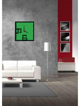 Nástěnné hodiny kostka - ANTONIUS, barva: černá, tmavá zelená, zelená
