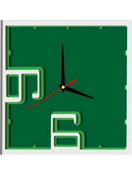 Plastové hodiny na stěnu ROMANA, barva: bílá, zelená, tmavá zelená