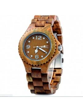 BEWELL Dřevěné náramkové hodinky Tři čísla DH007 VERA