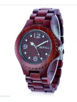 BEWELL Moderní dřevěné náramkové hodinky DH07 Graciela červené