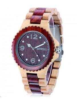 BEWELL dřevěné náramkové hodinky DH007 červeň