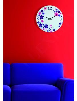 Nástěnné hodiny plexisklo barevné květiny. Rozměr 30 x 30cm KVET