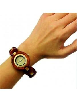 BEWELL dámské náramkové hodinky dřevěné DH008 červené