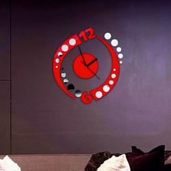 Nalepovací zrcadlové hodiny na stěnu červené KOULE