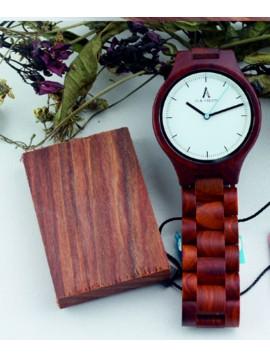 ALK VISION Kreativní dřevěné náramkové hodinky DH012 MARGOT červeň