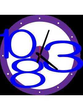 3D nástěnné hodiny Exkluzivní, barva: purpurové, tmavě modré