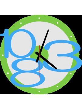 Nástěnné hodiny Exkluzivní, barva: světle zelená, modré jasné číslice