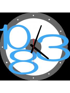 3D nástěnné hodiny Exkluzivní, barva: šedá, modrá jasná čísla