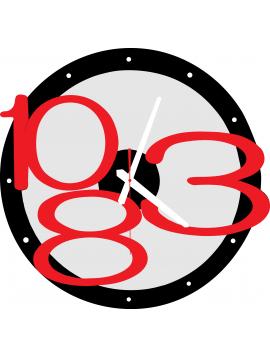3D nástěnné hodiny Exclusive, Barva: Černá, Červená Čísla, barva ručiček: Bílá