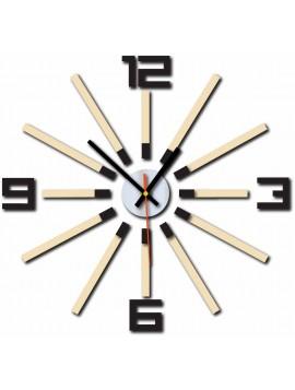 Zegar ścienny do salonu kolor ciemnobrązowy biała kawa VENDELIN