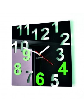 Moderní nástěnné hodiny-Barevné čísla, Barva: černá, světlá zelená NUMBERS